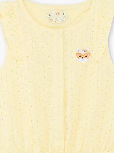 Gelber Jumpsuit mit durchbrochenen Tupfen Kind Mädchen ZICOBETTE / 21E2PFO1SACB104