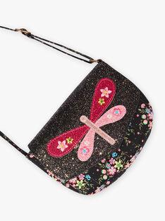 Kind Mädchen schwarze Schmetterlings-Umhängetasche BRIDJETTE / 21H4PFM1BES090