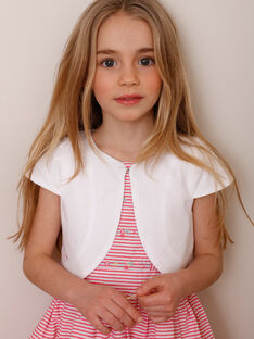 Ecrufarbene kurzärmelige Strickjacke für Mädchen TYDOETTE / 20E2PFJ3CAR000