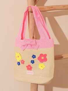 Stroh Strandtasche mit bunten Blumen Kind Mädchen ZAIPAETTE / 21E4PFR2BES009