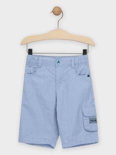 Kleinkarierte blaue Bermuda-Shorts für Jungen TIGLAGE / 20E3PGO3BERC208