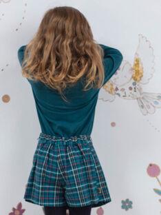 Entenblauer Rock-Short für Mädchen mit Karos BOELIETTE / 21H2PF91SHO714