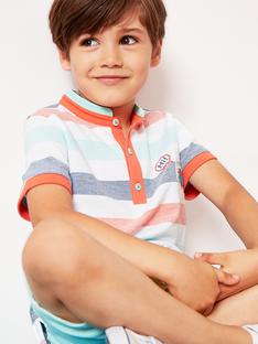 Blau-orange gestreiftes Polohemd für Jungen TINANAGE / 20E3PGP1POL001