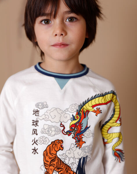 Weißes T-Shirt mit ausgefallenem Baumwoll-Jersey-Muster ZAGERAGE / 21E3PGI1TML001