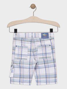 Weiß und grün karierte Bermuda-Shorts für Jungen TUCLIAGE / 20E3PGW2BER001