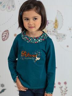 Langärmeliges blaues Enten-T-Shirt für Mädchen mit Blumendruck-Kragen BOLORETTE / 21H2PF92TML714