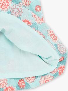 Blaues und korallenrotes Kleid mit Blumendruck und Bloomer aus Popeline ZACOLINE / 21E1BFI1ROB629