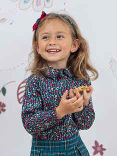 Langärmliges blaues Entenhemd mit Blumendruck, Mädchen Kind BOMETTE / 21H2PF91CHE714