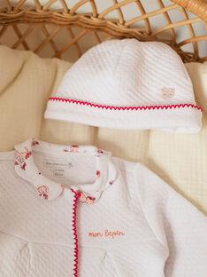 Baby Mädchen weißer Schlafanzug und Mütze ZOLOUANE B / 21E0NFY1GRE000
