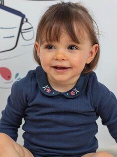 Baby Mädchen petrolblauer Bodysuit mit Claudine-Kragen BAKORINE / 21H1BFL1BOD715