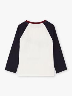 Jungen-T-Shirt in Marineblau und Ecru BETINAGE / 21H3PG92TML001