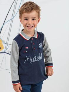 Zweifarbiges Langarm-Poloshirt für Jungen mit Marine-Motiven BINANAGE / 21H3PGL1POLC205
