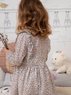 Rosa und weißes Kleid für Mädchen mit Blumendruck BEROETTE / 21H2PF21ROB001