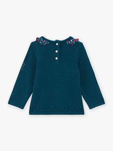 Baby Mädchen Blau Kaninchen Pullover mit Blumendruck Details BAGAELLE / 21H1BF91PUL714