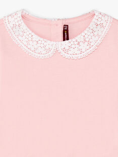 Blassrosa Langarm-T-Shirt für Mädchen mit Claudine-Kragen BROTOZETTE1 / 21H2PFB2TML321