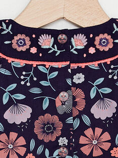 Violetter Babystrampler mit Blumenmuster Mädchen TAQLODINE / 20E1BFP1BAR711
