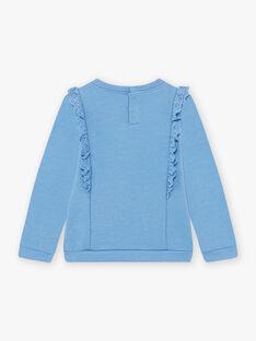 Blaues Sweatshirt mit Stickereidetails und Kaninchenmotiv für Mädchen BYSWETTE / 21H2PFL1SWE221