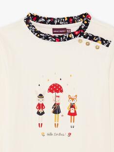 Baby Mädchen lange Ärmel Ecru Fancy Print T-Shirt BICHETTE / 21H2PF53TML001
