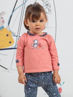 Baby Mädchen Koralle rosa gerafften Kragen T-Shirt BAKAVI / 21H1BFL1TEE415