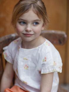 Weiße und gelbe Bluse Kind Mädchen ZIBOETTE / 21E2PFO1CHE000