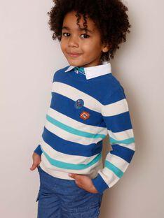 Blauer Pullover mit weißen und grünen Streifen ZADRAGE / 21E3PGJ1PULC206