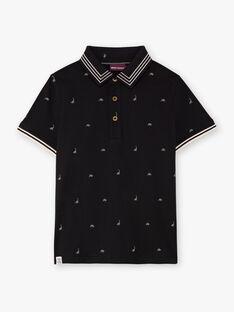 Schwarzes Poloshirt für Jungen mit Dinosaurier-Print BAPOLAGE / 21H3PG21POL090
