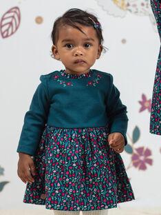 Baby Mädchen Ente blau Blumendruck lange Ärmel Kleid BAGEORGIE / 21H1BF91ROB714
