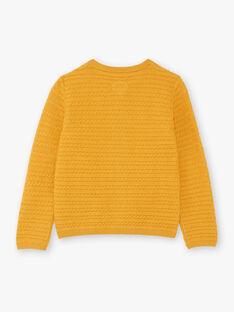 Gelbe Strickjacke für Mädchen BILAETTE / 21H2PF51CAR109