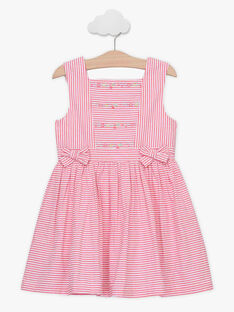 Gestreiftes Kleid für Mädchen, rosa TYSSOETTE / 20E2PFJ3CHSF507