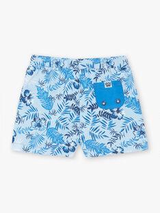 Hellblaue Badeshorts mit Baby-Jungen-Blatt-Muster ZIRAFA / 21E4BGR4MAIC218