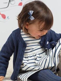 Baby Mädchen petrolblaue Strickjacke und Plüschkatze BAKLELIA / 21H1BFL1CAR715