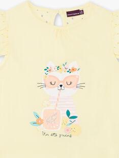 T-shirt zitronengelb Kind Mädchen ZILEMETTE / 21E2PFO1TMCB104