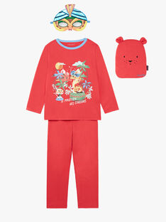Roter ausgefallener Pyjama mit Tasche und Maske für Jungen und Mädchen ZIPIMAGE1 / 21E5PGF2PYTE412