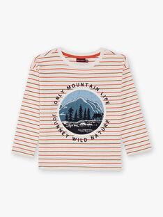 Jungen-T-Shirt in Ecru und Orange gestreift BIFIAGE / 21H3PGJ2TML001