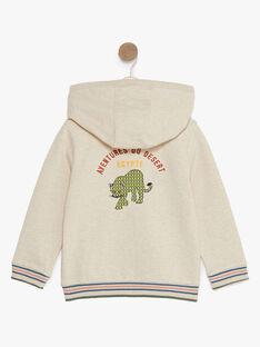 Beigefarbene Fleece-Kapuzenweste für Jungen TOBARAGE / 20E3PGQ1GILA011