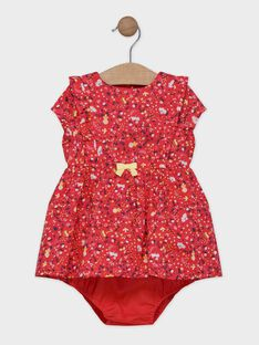 Baby girls' red printed dress with bloomers SAANNA / 19H1BF21ROBD313