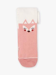 Strumpfhose für Baby Mädchen mit Fuchsmuster in Ecru und Rosa BAILONA / 21H4BFJ1COL001
