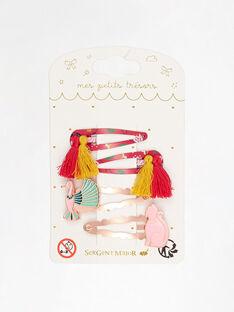 Set mit 4 Haarspangen Pompon, Katze und Vogel für kleine Mädchen TIUROKETTE / 20E4PFL3BRTF510