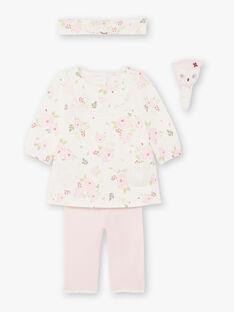 Kleid und Stirnband mit Blumen und rosa Leggings Geburt Mädchen gedruckt BOUTAINA / 21H0CF43ENS001
