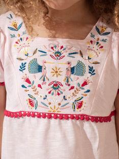 Hellrosa besticktes T-Shirt Mädchen TIUVETTE / 20E2PFQ1TMCD317