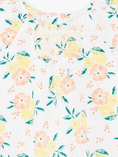 Weiß und gelb Kleid mit Zitrone und Blumendruck Kind Mädchen ZICITETTE / 21E2PFO1ROB000