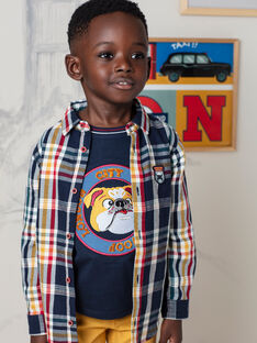 Marineblau kariertes Hemd für Jungen BECHOAGE / 21H3PG51CHM070