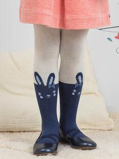 Strumpfhose für Kind Mädchen in Ecru und Marineblau mit Kaninchenmotiv BYCOLIETTE / 21H4PFL1COL001