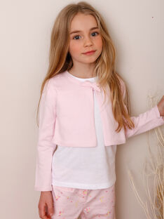 Bestickter Cardigan für Mädchen, rosa TYMOETTE / 20E2PFJ2CAR321