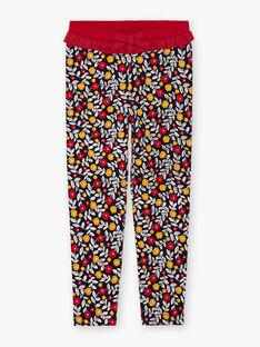 Marineblaue und rote Leggings mit Blumendruck für Mädchen BILIETTE / 21H4PF52CAL070