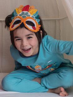 Türkisfarbener ausgefallener Pyjama mit Beutel und Maske für Jungen und Mädchen ZIPIMAGE2 / 21E5PGF1PYTC216