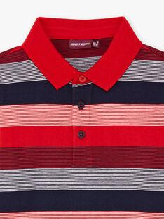 Rot und marineblau gestreiftes Poloshirt für Jungen BUXAGE2 / 21H3PGB3POL050