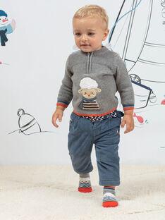 Grauer Strickpullover für Baby-Jungen mit Fantasie-Schaf-Motiv BANINO / 21H1BGL1PUL943