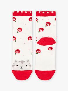 Baby Mädchen ecru Katze und Blume Socken BASOCETTE / 21H4PF11SOQ001