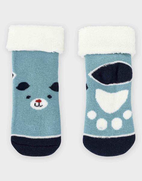 Blaugraue Baby-Bouclé-Socken Jungen TACLOVIS / 20E4BGC2SOQG619